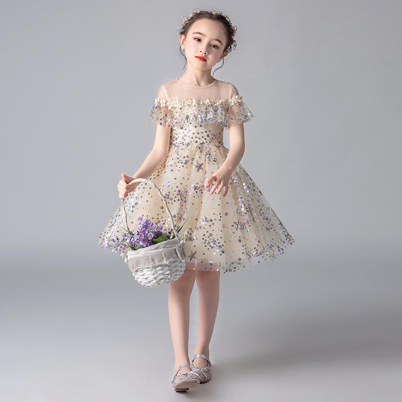 Trang phục dạ hôi trẻ em Hoa cô gái váy cưới gạc bông cô gái sinh nhật công chúa váy nước ngoài trẻ