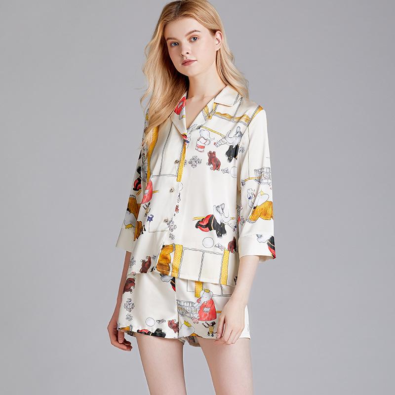 Yao Ting Đồ ngủ 2020 bộ đồ ngủ mới dành cho nữ mùa xuân và mùa hè lụa mỏng phần giữa tay ngắn phù hợ