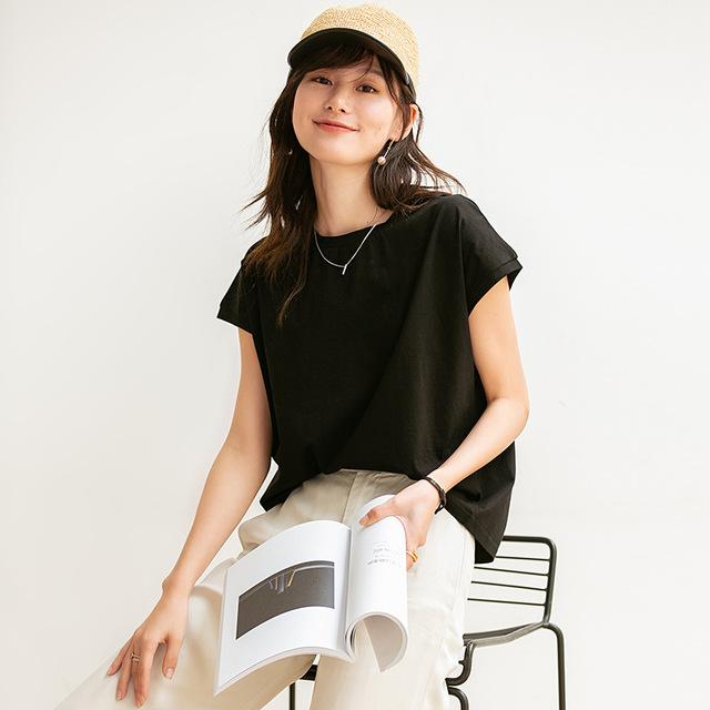 SHANDIEJI Áo thun cổ tròn màu trơn nữ tay ngắn 2020 hè mới Hàn Quốc giản dị thả lỏng cơ bản Hồng Kôn