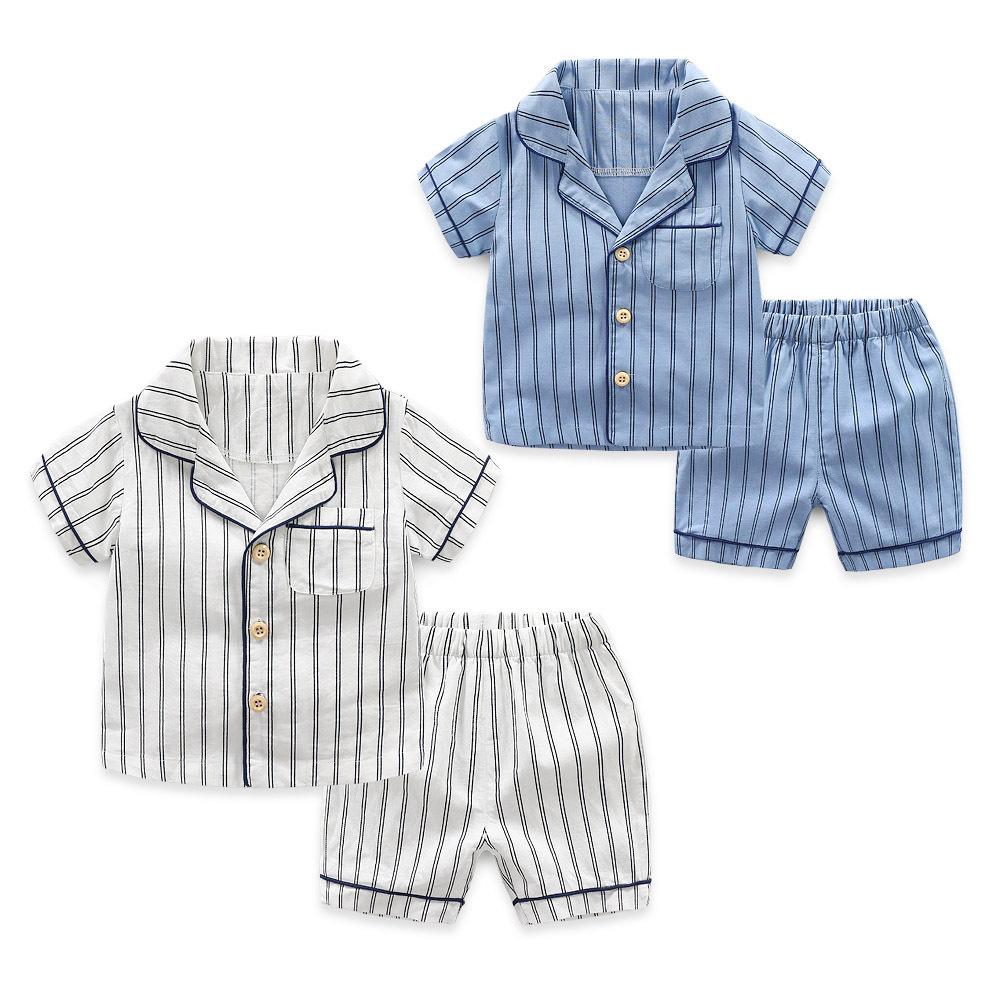 Xiailebaby Đồ ngủ trẻ em Bộ đồ ngủ trẻ em 2020 Bộ đồ ngủ bé trai ngắn tay mới cho bé Quần áo trẻ em