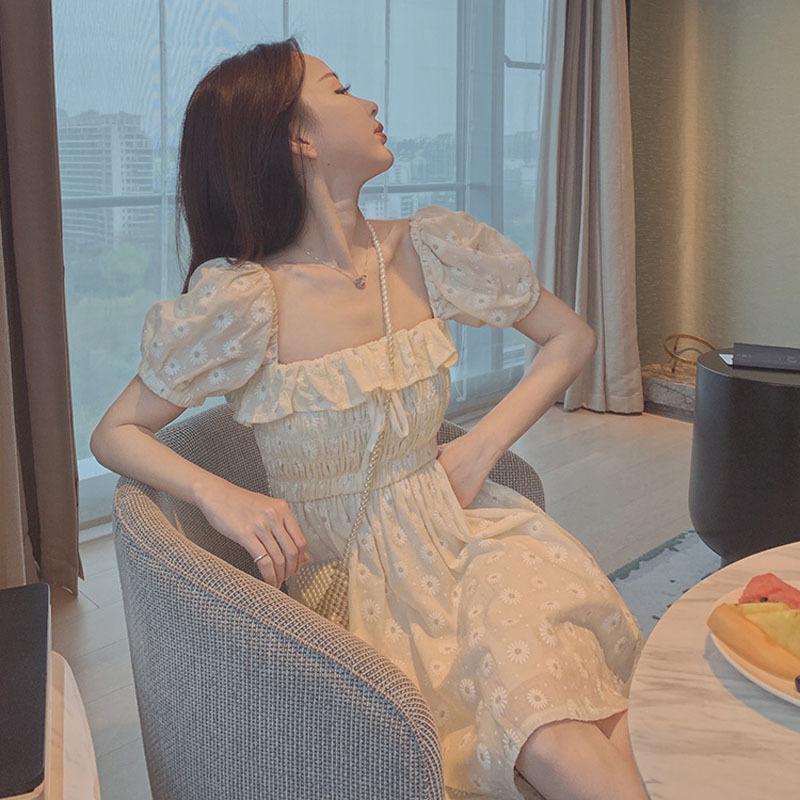 Váy RoDear con nai nhỏ yêu đầu tiên váy hoa cúc nhỏ ngọt ngào Pháp cổ vuông bong bóng tay áo mùa xuâ