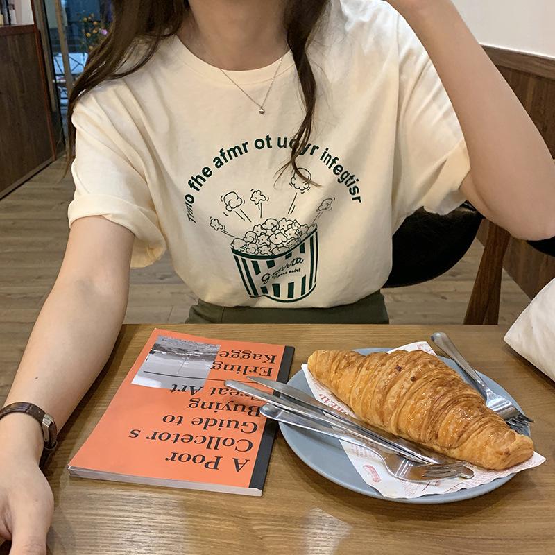 áo thun Huang Zheng dễ thương vui nhộn bỏng ngô in áo thun ngắn tay nữ 2020 hè Hàn Quốc áo khoác nữ