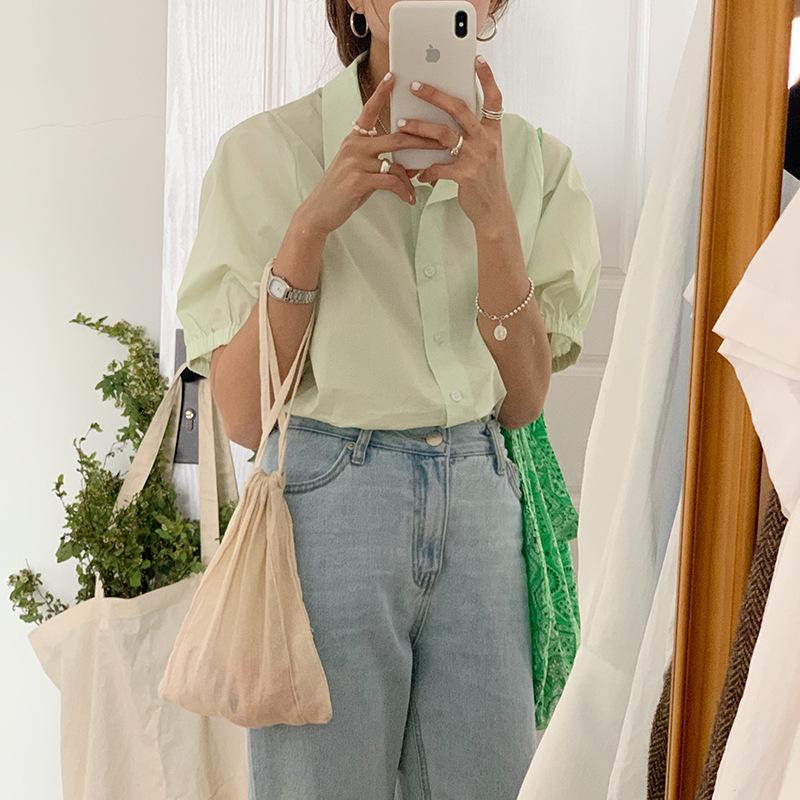 EAL hàng trào lưu mới [Nan Tao] Mùa hè 2020 phụ nữ lỏng lẻo áo len ngắn tay áo len màu rắn áo sơ mi