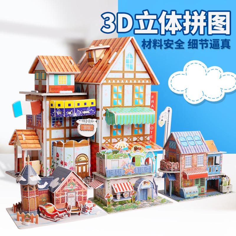 Tranh xếp hình 3D 3d câu đố ba chiều giấy tự làm mô hình nhà trẻ em xe máy bay nóng bán phòng tắm gi