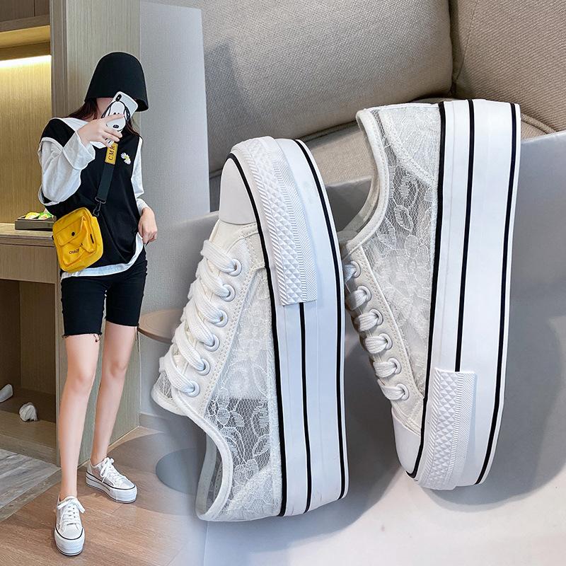 Giày Sneaker / Giày trượt ván Mùa hè 2020 giày lưới dày đế bằng vải ren đế giày trắng rỗng Phiên bản