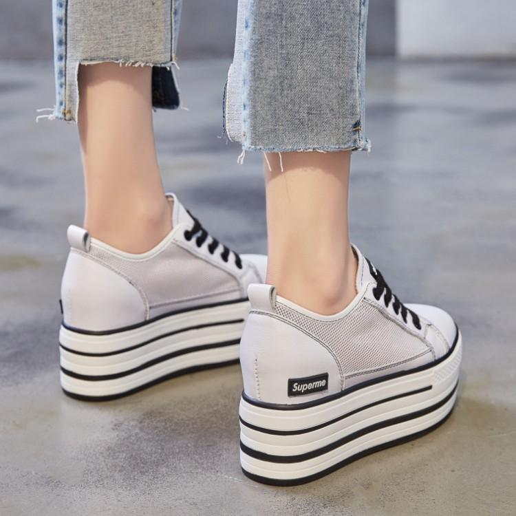 Giày bánh mì Vào mùa hè năm 2019, lớp giày da bò + lưới đầu tiên tăng 9CM đôi giày màu đơn giản và t