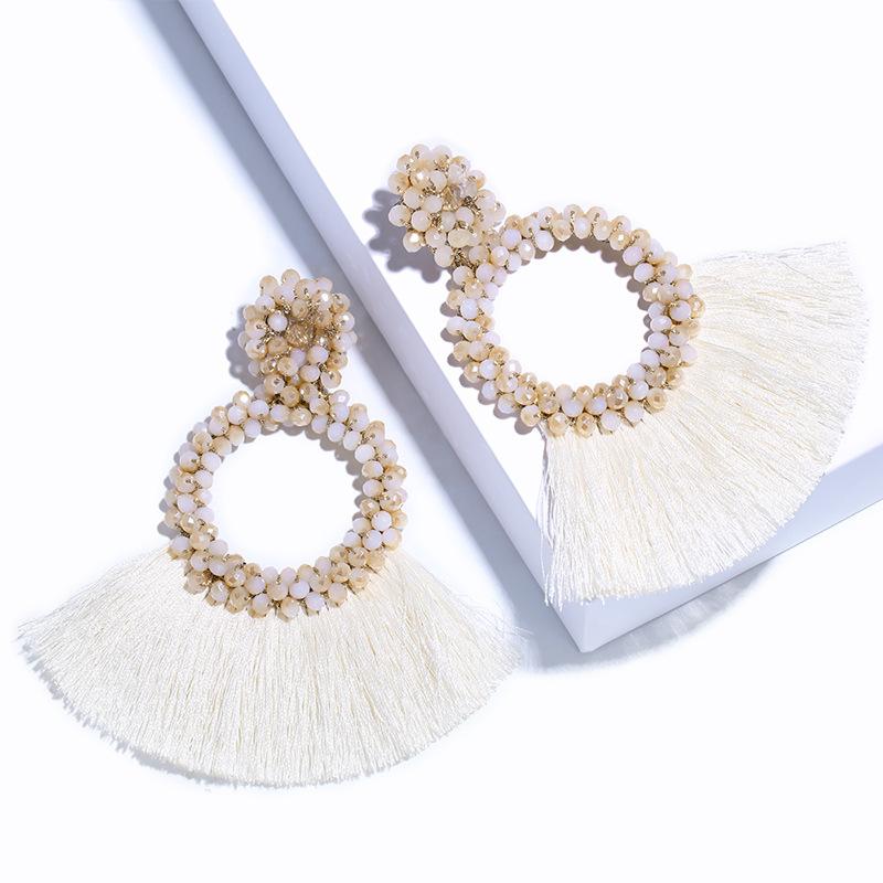 AOSHENG Phụ kiện thời trang Thời trang boho cá tính nữ phóng đại đan bằng tay hạt gạo tua rua ern02