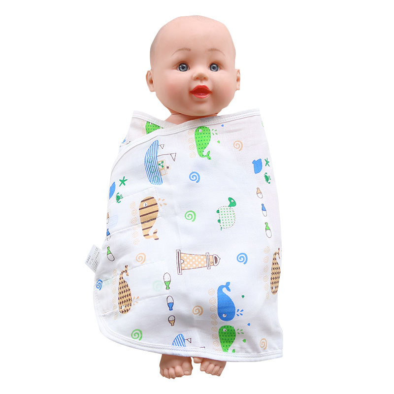JUNENGSHU Đồ dùng sơ sinh Chất liệu cotton nguyên chất cho bé chống co giật quấn túi ngủ cho bé sơ s