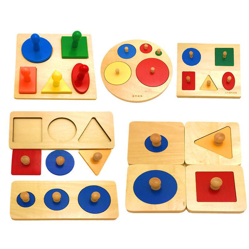DONGLIN Xếp hình 3D bằng gỗ Giáo dục mầm non 0123 tuổi Hình dạng màu sắc câu đố nhận thức câu đố hìn