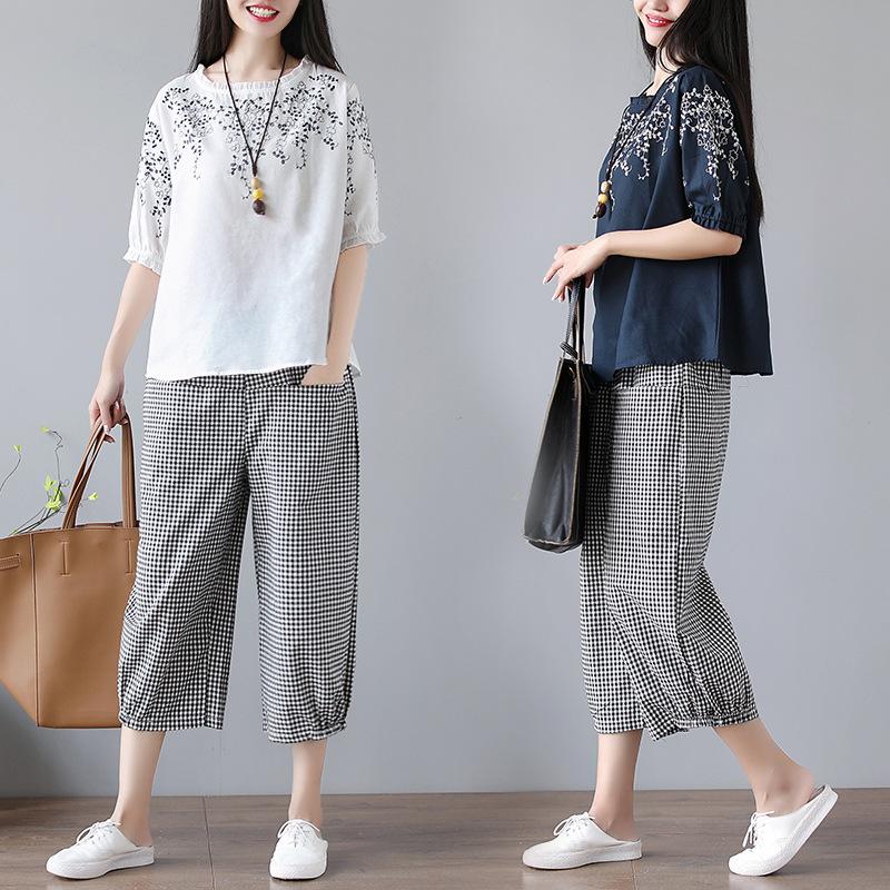 Thời trang Mùa hè 2020 mới thực sự bắn kích thước lớn của phụ nữ retro thêu văn học cotton và vải la