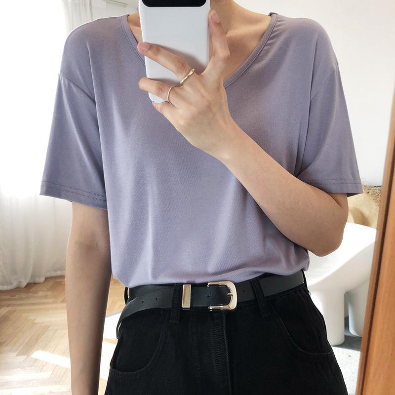 Luxi áo thun Modal áo thun ngắn tay nữ mùa hè 2020 mới màu rắn quần áo rộng đáy áo 218