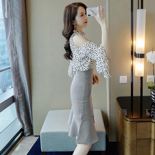 Đồ Suits Mùa hè 2020 mới của phụ nữ thời trang Hàn Quốc áo sơ mi voan ngắn tay hai mảnh