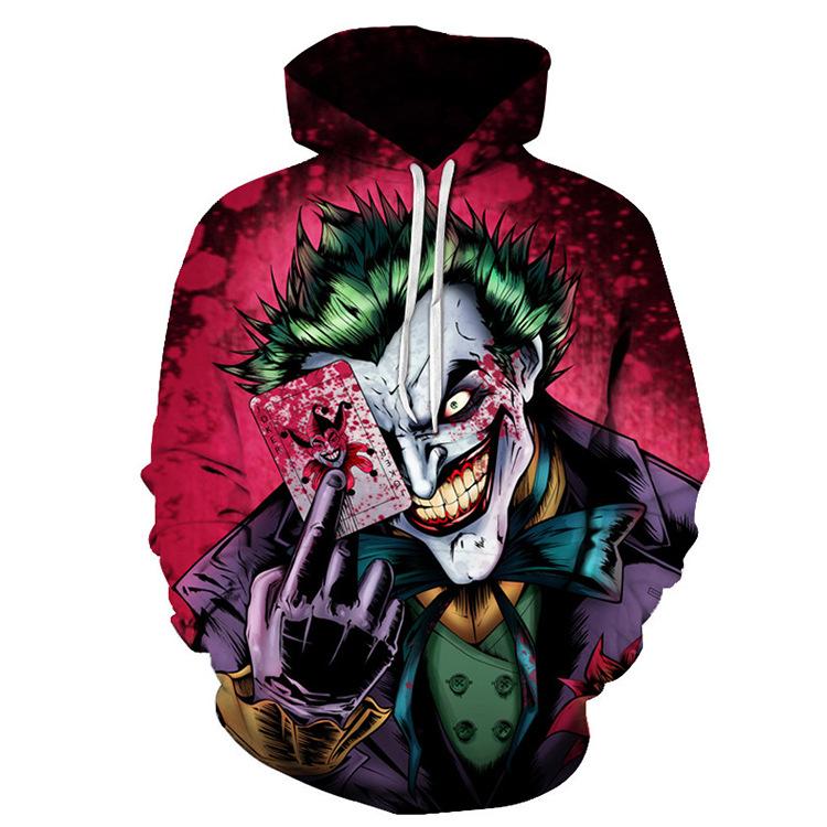 BLANDI Sweater (Áo nỉ chui đầu) 3D Poker Joker Jacket Joker Suit Áo in thông thường