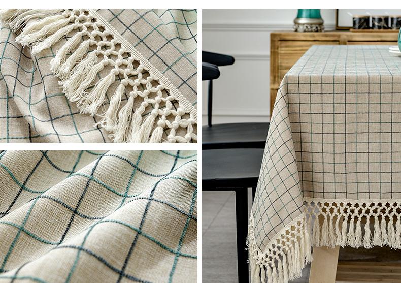 Bàn trà kiểu Bắc Âu Vẽ vải bông vải lanh màu xám hình hình vuông hình vuông Bàn Quay