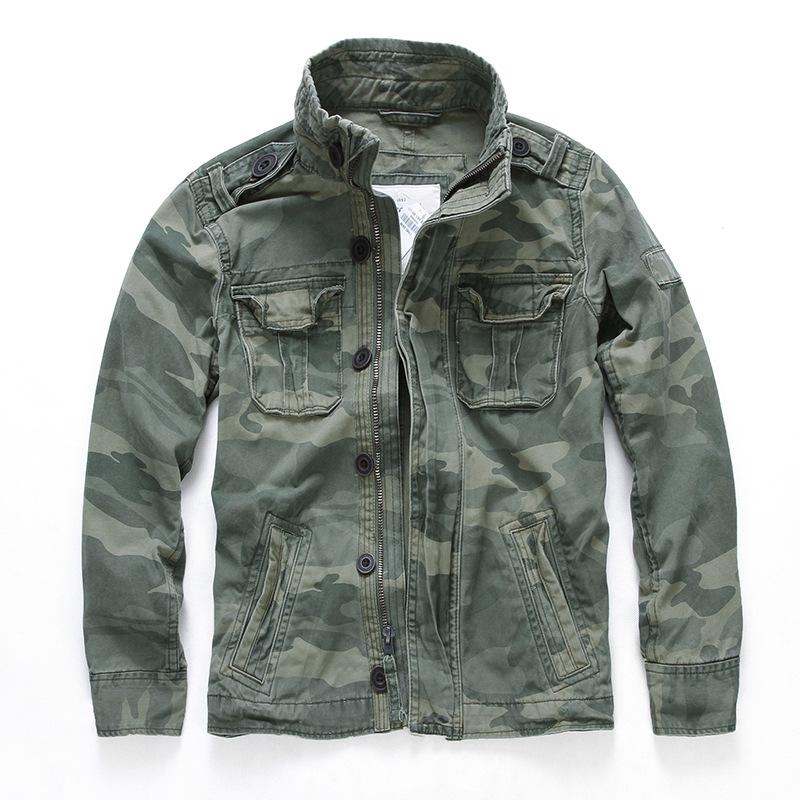 YINGLONG Áo khoác nam màu rắn mới giản dị thể thao ngụy trang denim áo khoác nam xuyên biên giới bán