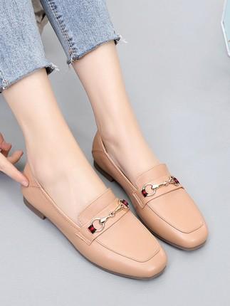 Giày da Giày nữ mùa xuân 2020 mới đế phẳng Giày đơn nữ Giày da thoải mái đế mềm đế mềm Giày lười nữ