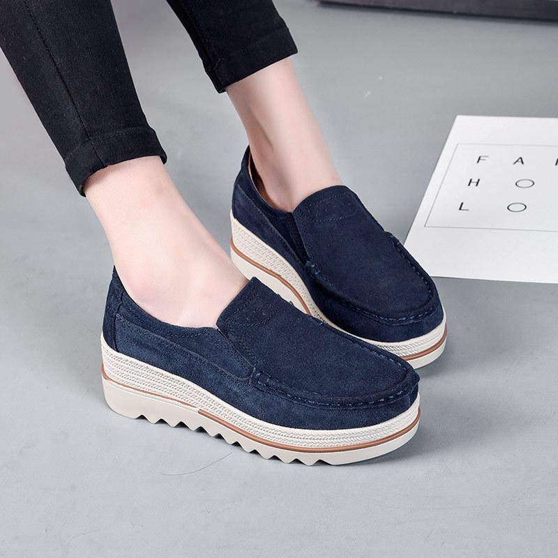 XUANENNA Giày bánh mì Mô hình mùa xuân và mùa thu dày bánh xốp bộ giày da nữ giày da lộn da lộn da b