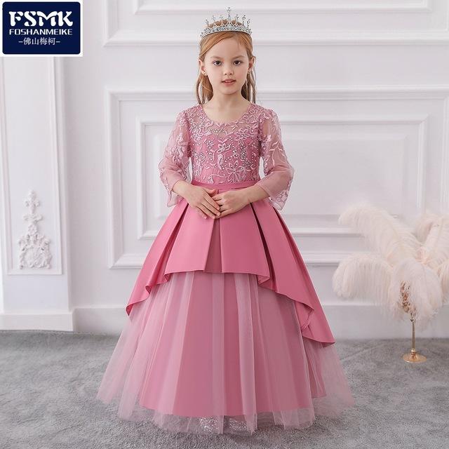MQATZ Trang phục dạ hôi trẻ em 2020 xuyên biên giới cung cấp hàng đầu cô gái váy váy kim cương nóng