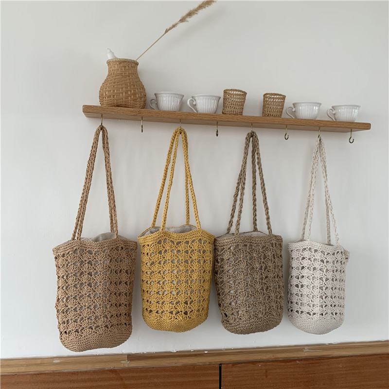 Túi xách đeo vai kiểu đan dệt bằng tay kiểu dáng retro cho nữ .