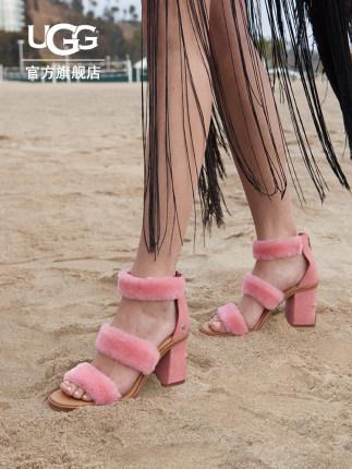 Giày nữ trào lưu Hot  Giày cao gót nữ mùa thu UGG chunky gót Iander sê-ri thời trang cao gót lông th