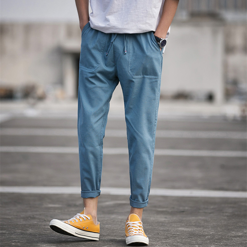 WUCAI Quần Casual Cộng với size quần âu nam rộng chân 9 điểm Quần xu hướng Hàn Quốc Quần âu giản dị