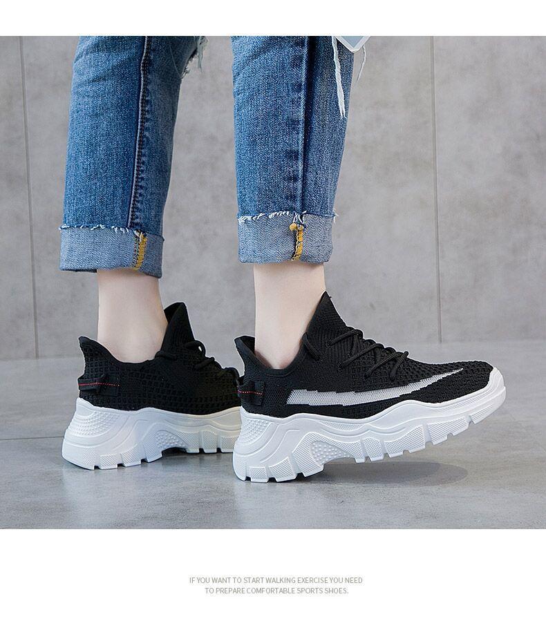 giày bánh mì / giày Platform Giày lưới thể thao nữ phiên bản Hàn Quốc 2019 xuân hè mới giày cũ đế dà