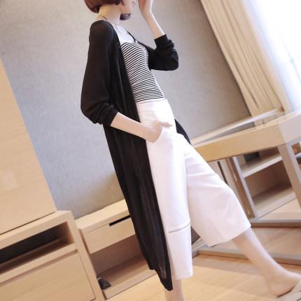 Áo khoác Cardigan  Áo len lụa băng hè dành cho nữ mùa hè dài giữa phiên bản Hàn Quốc của áo len mỏng