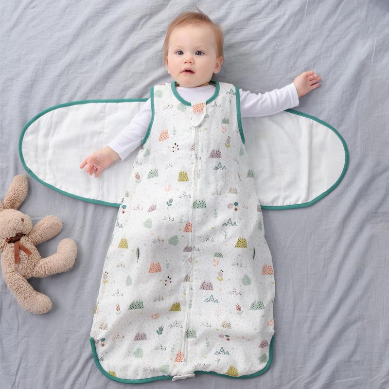 BUZHITONG Đồ dùng sơ sinh Bé chống co giật túi ngủ tạo tác mùa xuân và mùa thu mỏng phần sơ sinh cho