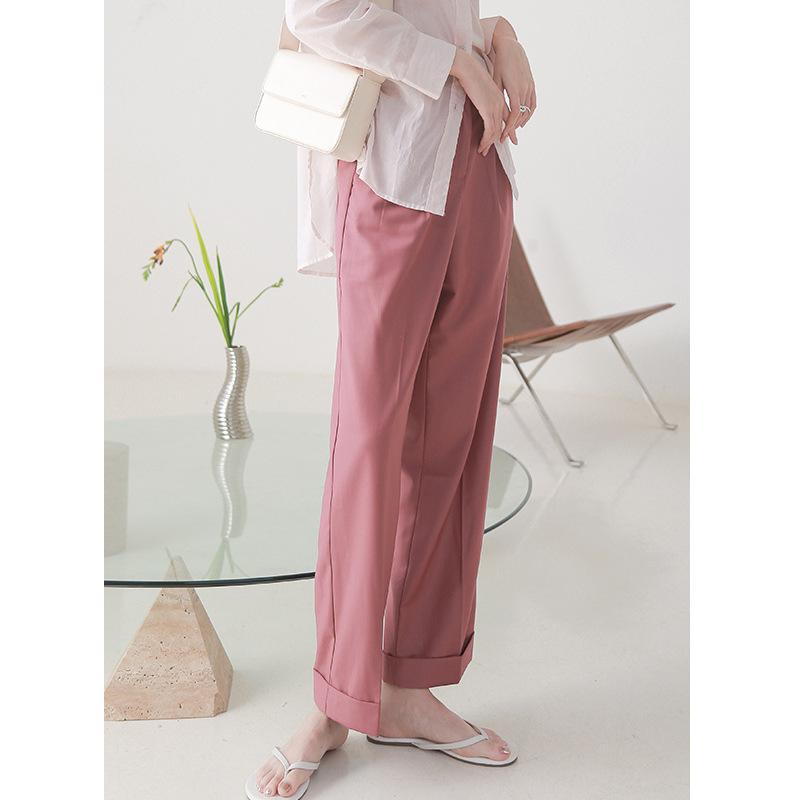 Clean space Quần hè 2020 mới phong cách Hàn Quốc quần ống suông thẳng nữ quần thời trang khí chất qu