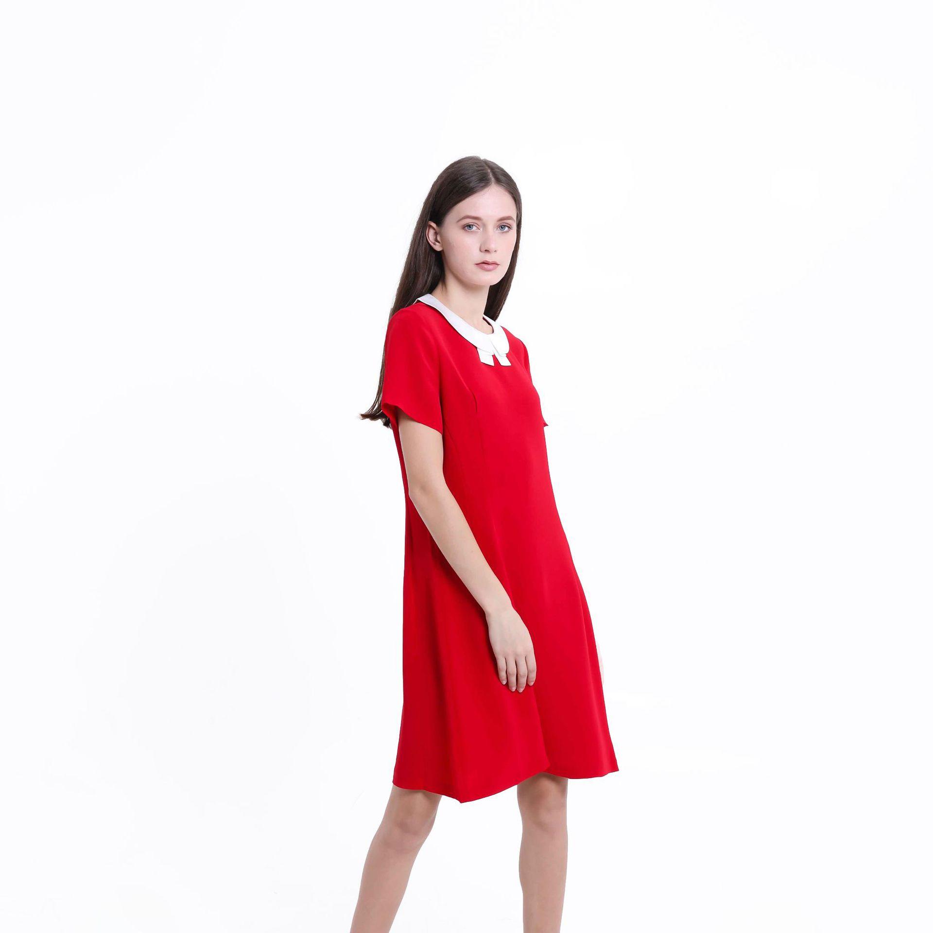 Váy Mùa hè mới búp bê cổ áo váy búp bê phong cách đại học là mỏng và mỏng giảm béo giữa váy dài