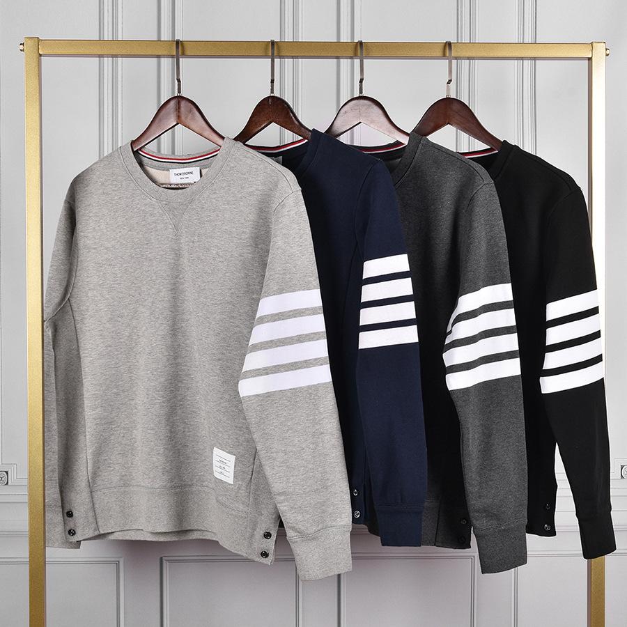 THOM BRUN. Sweater (Áo nỉ chui đầu) 2020tb nhuộm bốn sợi nam và nữ áo len cùng đệm bông cổ tròn Áo k