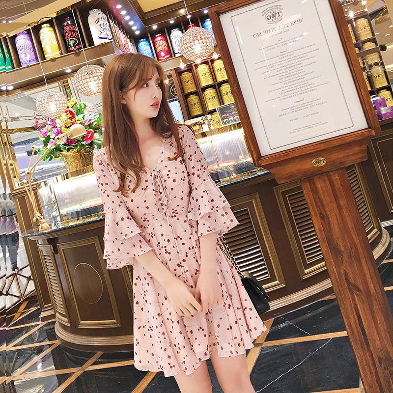 Váy Real shot 2020 mùa hè hoa voan mới tay áo cánh hoa rất cổ tích Pháp váy đầm