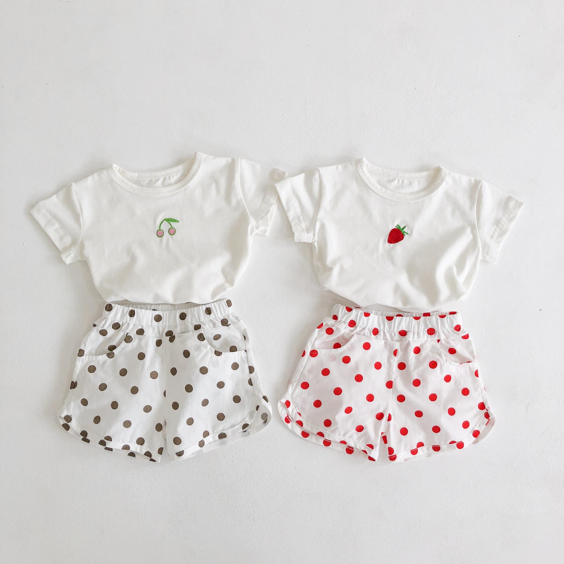 Engepapa Đồ Suits trẻ em Mùa hè 2020 sản phẩm mới cho bé em bé dâu tây anh đào Áo thun + quần short