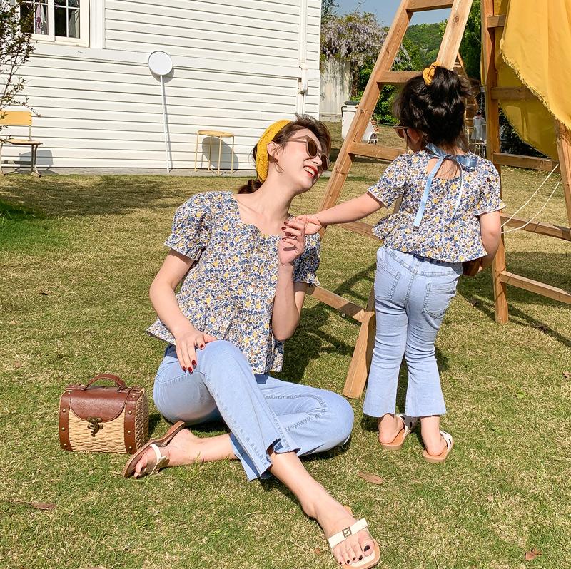 WITHPLAY Áo thun gia đình Ngọt ngào và chua chính gốc trang phục cha mẹ và con mẹ mùa hè quần jean m