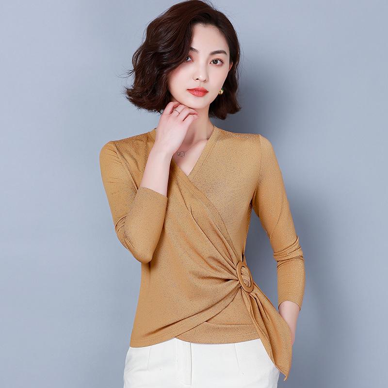 tay dài Áo thun lưới cổ chữ V màu trơn, tay dài nữ 2019 mùa xuân mới ngọn áo phiên bản Hàn Quốc áo t