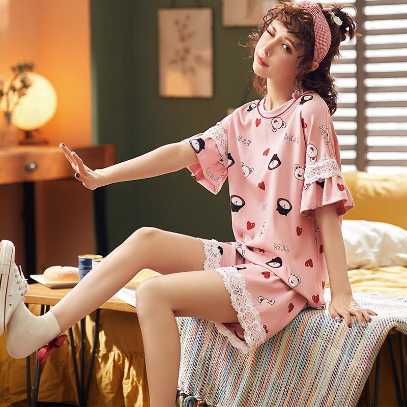 Peiyan Đồ ngủ Bộ đồ ngủ nữ Peiyan mùa hè ngắn tay cotton mỏng phù hợp với nữ sinh viên dễ thương phi