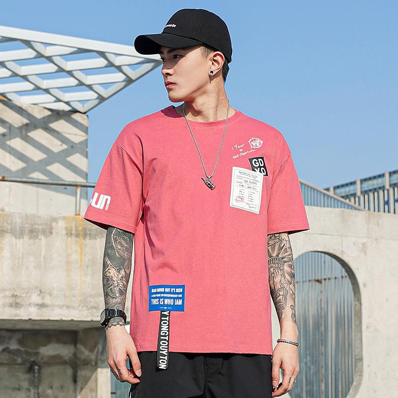 Áo thun nam mùa hè 2020 hip-hop phong cách Hong Kong Áo thun nam tay lửng năm điểm / áo thun tay ngắ