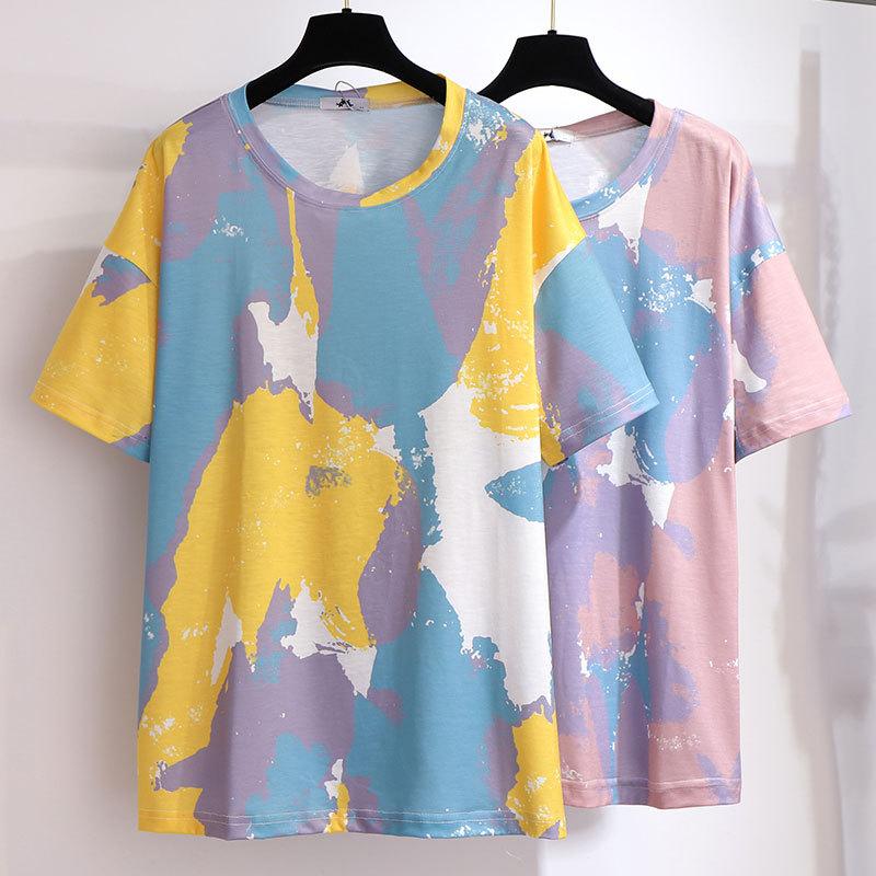 Transfortegy áo thun 300 kg size lớn của phụ nữ béo mm mùa hè in áo thun ngắn tay lỏng lẻo cộng với