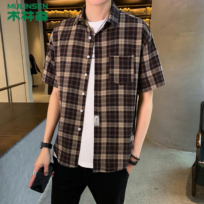 MULINSEN Áo sơ mi Mu Linsen nam mới áo sơ mi ngắn tay xu hướng nam rộng cá tính kẻ sọc giản dị áo sơ