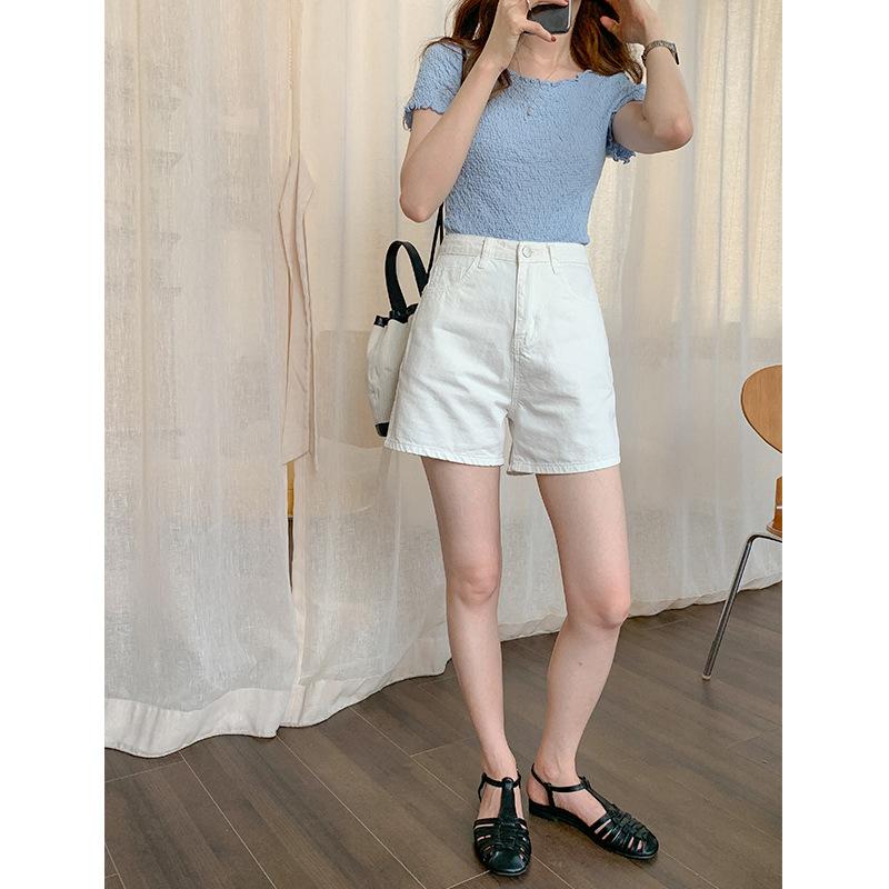 THXGIVING quần Jean Quần lửng cạp cao màu trắng là quần jeans nữ 2020 mùa hè mới phiên bản Hàn Quốc