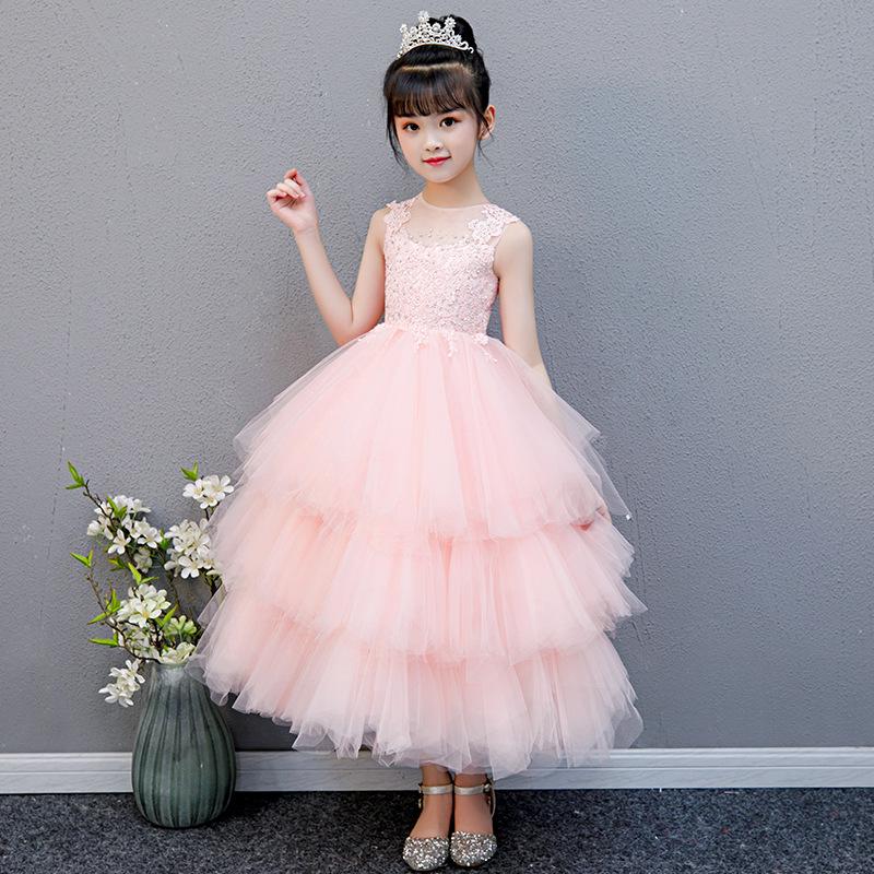 FENGSHENGMENG Trang phục dạ hôi trẻ em Công chúa váy cô gái fluffy sợi hoa cô gái váy cưới cô gái nh