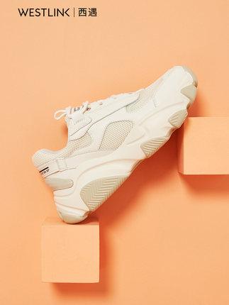 Giày nữ trào lưu Hot  Giày thể thao Xiyu nữ 2020 mới mùa xuân ren lên màu phù hợp với lưới đỏ cha gi