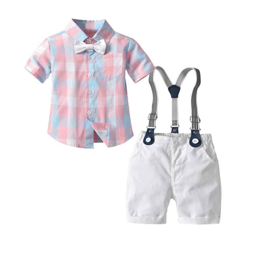 Carlstar Đồ Suits trẻ em Mùa hè quần áo trẻ em mới phù hợp với cậu bé quý ông tay áo ngắn kẻ sọc dây