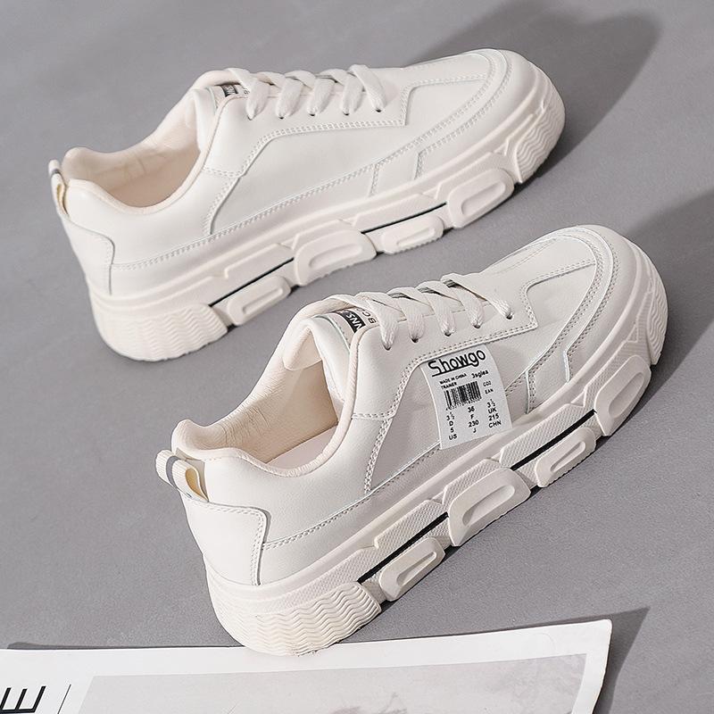 giày bánh mì / giày Platform Thời trang Hàn Quốc phiên bản giày nữ nhỏ màu trắng 2020 mùa xuân mới h