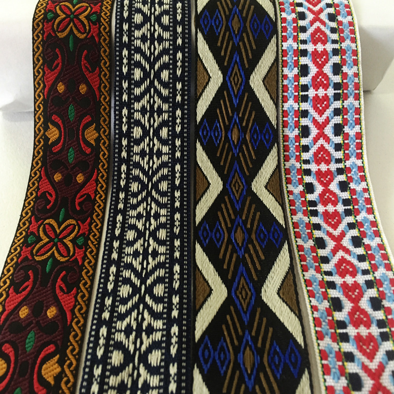BUDUODUO Dây cột rèm Nhà máy 4cm phong cách dân tộc jacquard ruy băng đầy màu sắc polyester máy tính