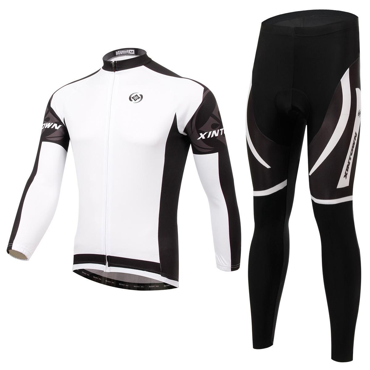 XINTOWN Quần áo mau khô Daimon bộ đồ đi xe đạp màu trắng phù hợp với tay dài xe đạp mùa xuân và mùa