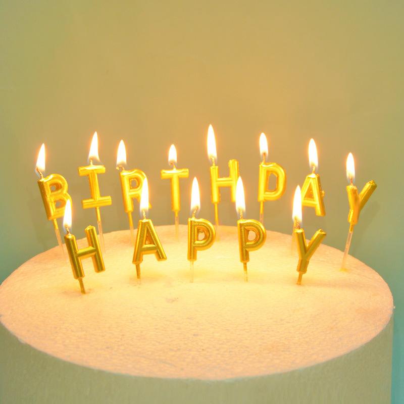 XHPD NLSX Nến Tiệc sinh nhật nến mạ vàng trang trí bánh cắm thẻ nướng tráng miệng Bảng chữ cái tiếng
