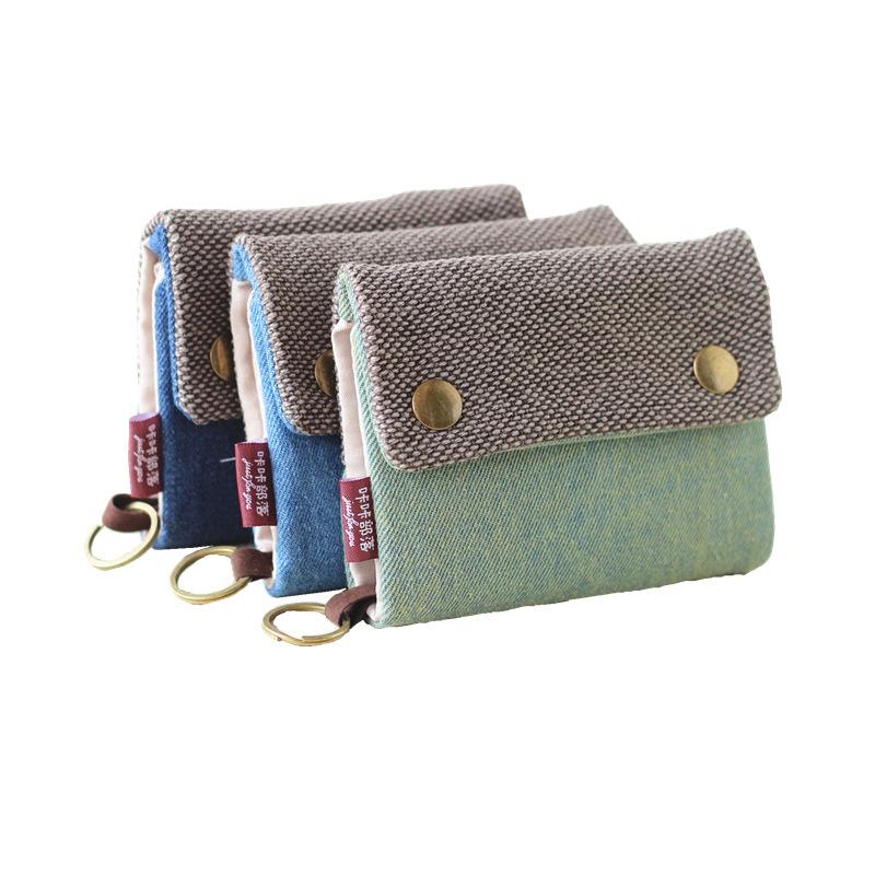 KKBL Ví đựng thẻ Sáng tạo thủ công ba lần ví denim vải đơn giản unisex vải thẻ túi túi chìa khóa