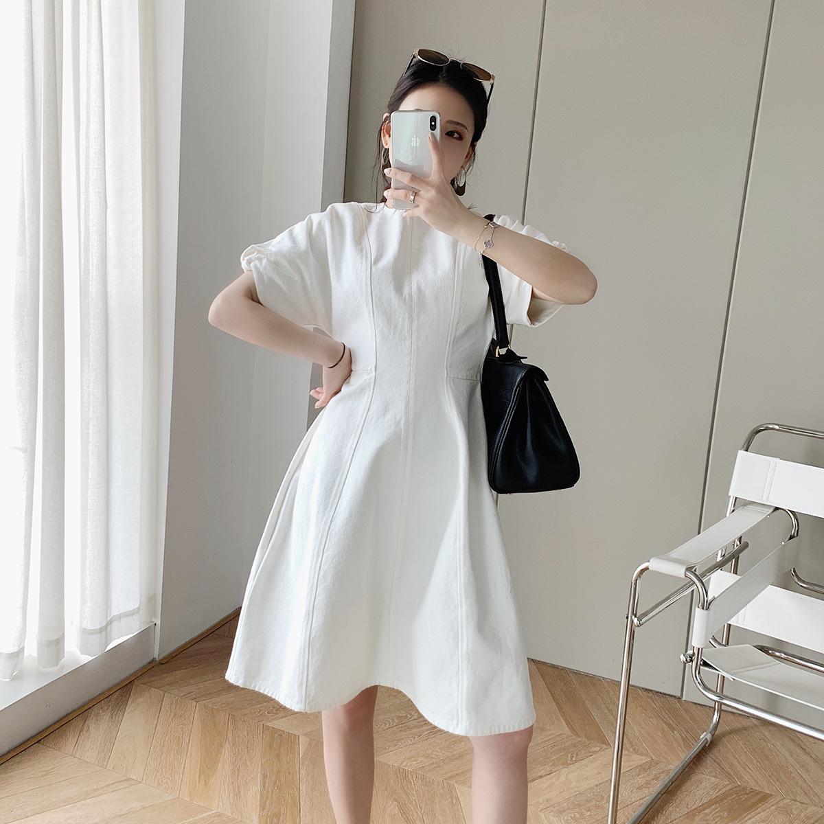 hàng trào lưu mới Váy tay phồng denim thắt lưng váy công chúa trắng