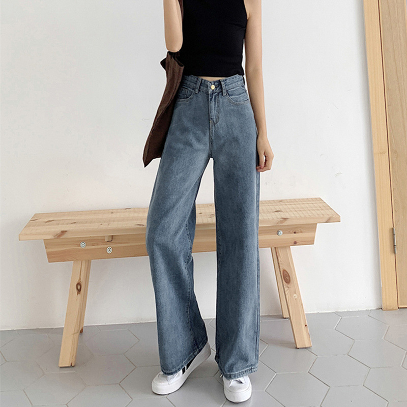 KENITU Quần jeans ống rộng nữ 2020 mùa hè mỏng phần mới giản dị Quần ống rộng ống rộng quần học sinh